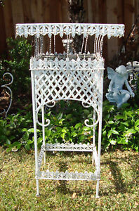 Vtg Antique Ornate Victorian Iron French Garden Patio Plant Stand Chic