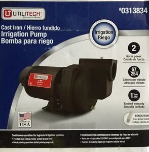Utilitech Cast Iron Irrigation Pump 0313834 2hp new Utp20p1