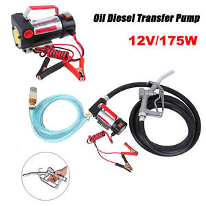 Portable 12v Dc Electric Fuel Transfer Pump Diesel Kerosene Oil Nozzle Set Kit