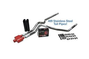 Ford F 150 04 14 2 5 Stainless Dual Exhaust Kit Cherry Bomb Extreme Blk Tip