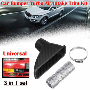 Car Bumper Turbo Air Intake Trim Kit Grill Mount Pipe Funnel Set Universal Abs