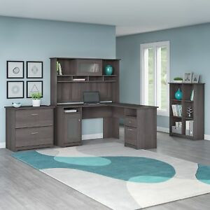 Bush Furniture Cabot L Shaped Desk With Hutch 6 Cube Organizer And Lateral File