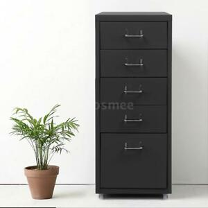 Grey 5 Drawer Metal File Cabinet Home Filing Office Organizer W 4 Casters P6s4