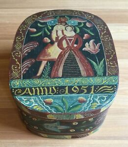 Old Vtg Hand Painted Wood Pantry Box Colonial Home Decor Anno 1951 Floral Oval