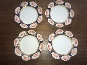 Antique Aynsley Dessert Plates Set Of Four Blue And Rust Scallop Edge