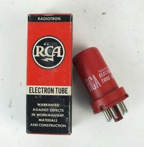Vintage Red Rca Electron Tube Valve 5693 R cc 8 5 56 With Box