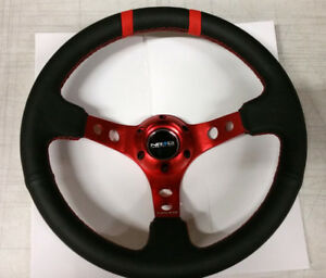 Sale Nrg Steering Wheel 350mm Red Center Black Leather 3 Deep Dish Two Marker