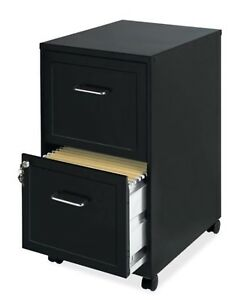 Black 2 Drawer Rolling File Cabinet Locking Two Letter Size 18 Compact Office