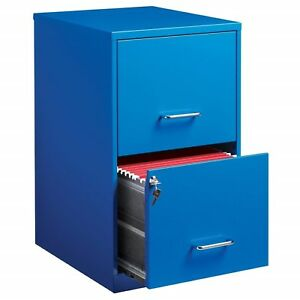 Blue 2 Drawer Filing Cabinet Locking Two Letter Size Metal 18 Compact Office