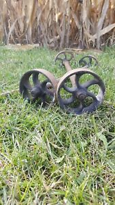 Vintage Cast Iron Industrial Factory Cart Wheels Axles Matching Set Of 4