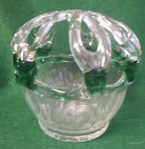 Atq Victorian Hand Blown Glass Bridal Brides Wedding Bank Basket Flower Frog