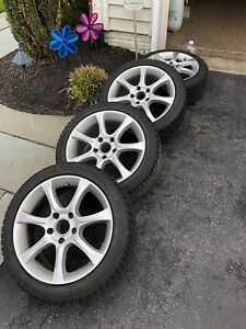 Sport Edition Wheels A7 7 5x17 Silver Painted Rim winter Tire And Tpms Set