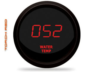 Intellitronix M9113r Led Digital Water Temp Gauge 2 1 16 50 To 350 Black Red