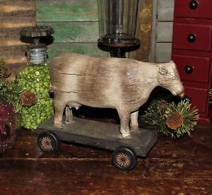 Primitive Antique Vtg Style Farm Barn Yard Dairy Cow On Wheels Shelf Sitter