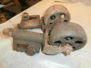 Factory Cart Casters Antique Cast Iron Industrial Coffee Table Island Wheels Two