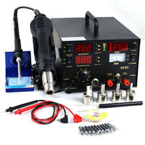 Power Supply Hot Air Iron Gun 3 In 1 853d Smd Dc Soldering Station Welder