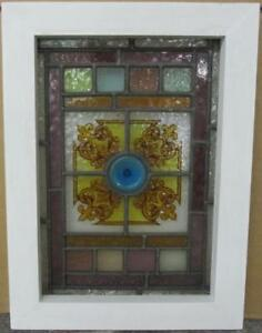 Victorian English Leaded Stained Glass Window Hand Painted Design 12 X 16 5