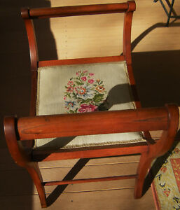 Vintage Antique Oak Victorian Chair W Sleigh Arms Needlepoint Cushion Lovely