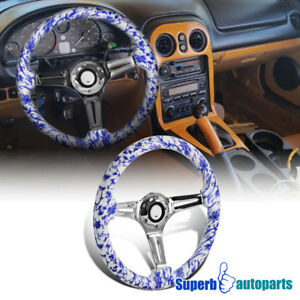 Universal 2 White Blue Chinese Art 350mm Sport Racing Wooden Steering Wheel 1pc