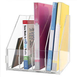 4section Acrylic Magazines Documents Folder File Organizer Holder For Office Us