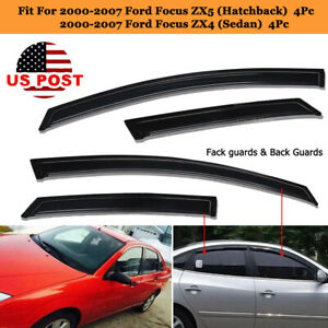 4pcs Window Visor Rain Guards Fit For 2000 2007 Ford Focus Zx5 Zx4 Vent Shade