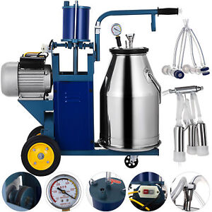 25l Electric Milking Machine For Goats Cows W bucket Adjustable Milker Piston