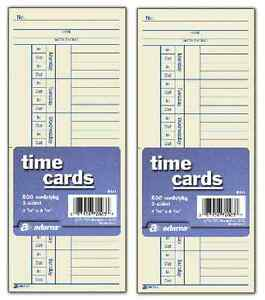 1000 Time Cards Punch Employee Payroll Amano Clock 2 Sided Adams 9664a 2 X 500