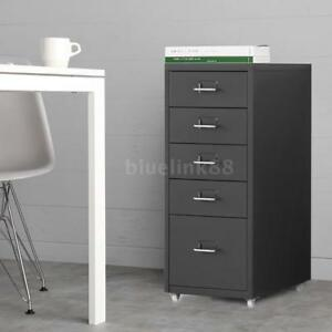5 drawer Mobile Rolling File Cabinet Filing Organizer Cabinet Cupboard Gray K2n2