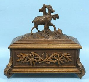Antique Swiss Black Forest Walnut Wood Carved Trinket Jewelry Box Roebuck Stag