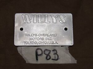Data Plate 47 And Later Chassis Fits Jeep Willys Cj2a P83
