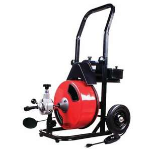 Theworks 50 Ft Electric Drain Cleaner Machine Black red