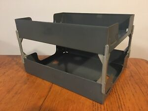 Vtg Industrial Art Steel Co Usa 2 tier Paper Letter Mail File Tray Sorter Holder