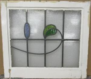 Old English Leaded Stained Glass Window Pretty Swirly Leaf Design 22 25 X 20