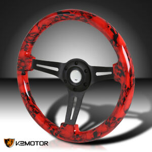 350mm Sport Racing Black 3 spoke Red Skull 2 Deep Dish Wooden Steering Wheel