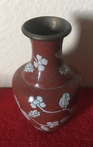 Vintage Chinese Cloisonne Vase 5 Tall Floral Rare Red Rust Color China