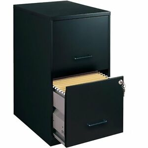 Space Solutions 18 Deep 2 drawer Metal File Cabinet Black