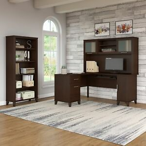 Somerset 60w L Shaped Desk With Hutch And 5 Shelf Bookcase In Cherry