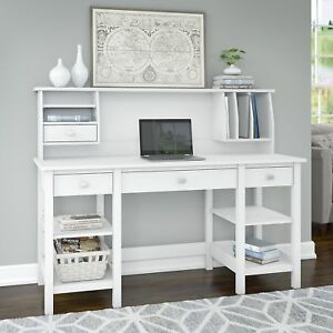 Bush Furniture Broadview 60w Desk With Storage Shelves And Small Hutch Organizer
