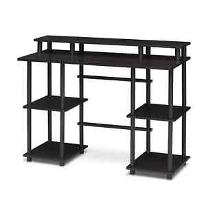 Furinno Turn n tube Computer Desk With Top Shelf Espresso black 17045ex bk
