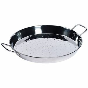 16 Stainless Steel Paella Pan With 2 Sides Handles