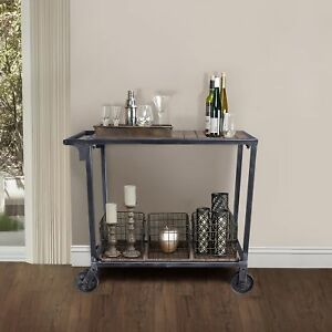 Manila Industrial Kitchen Cart In Industrial Grey And Pine Wood