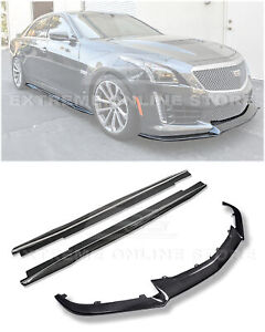 For 16 Up Cadillac Cts V Carbon Fiber Package Front Lip Splitter W Side Skirts