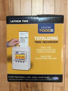 Latham 7000e Totalizing Time Recorder W Card Rack Time Cards And Extra Ribbon