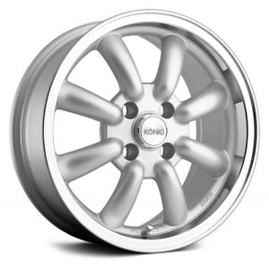4 new 15 Inch Konig 35s Rewind 15x7 4x114 3 0mm Silver Wheels Rims