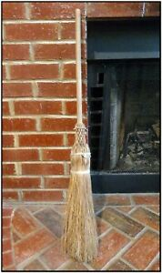 Nice Antique Primitive 19th C Handmade Hearth Corn Broom Hand Tied Woven Braided