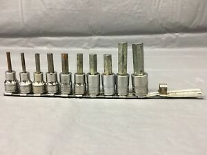 Used Snap on 10 Piece 3 8 Drive Hex Allen Metric 9 64 12 Mm Sockets Set