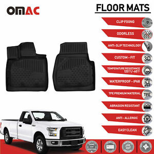 Floor Mats Liner 3d Molded Black Set Fits Ford F 150 Regular Cab 2015 2019