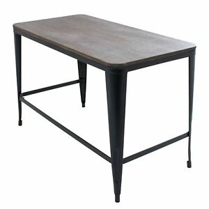 Pia Industrial Desk With Espresso Wood Top And Metal Frame
