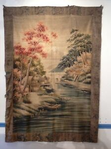 Large Antique Japanese Tapestry Embroidery