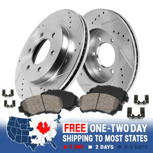 For Nissan Frontier Pathfinder Front Drill Slot Brake Rotors Ceramic Pads